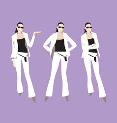 a young woman in a white suit vector image