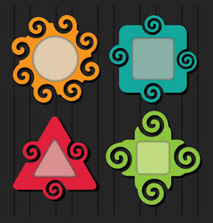 abstract colorful spiral shapes frame set icons vector image