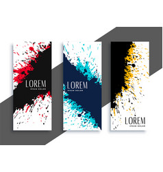 abstract ink splatter grunge banners set design vector image