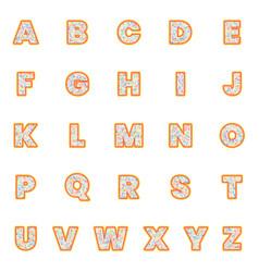 alphabet letters set polka dot style retro vector image