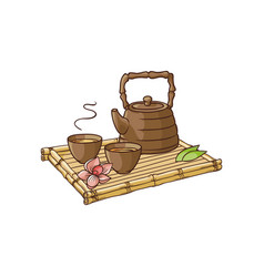 Asian teapot and teacups on bamboo trivet vector