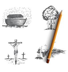 Bible narratives - noahs ark adam and eve vector