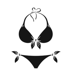 Bikini icon in black style isolated on white vector image