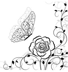 Black floral pattern and butterfly on white vector