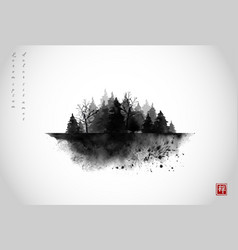 Black ink wash painting composition with misty vector