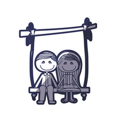 Blue color contour caricature couple sit in swing vector