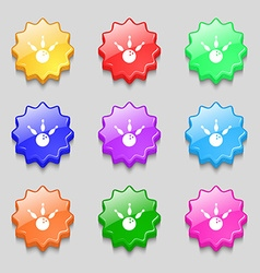 Bowling icon sign symbol on nine wavy colourful vector