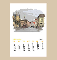 Calendar sheet september month 2021 year munich vector