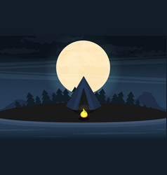 camping in forest at night flat design style vector image
