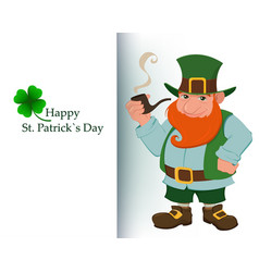 cartoon happy leprechaun with smoking pipe vector image