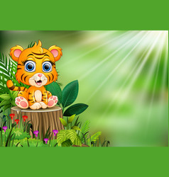 Cartoon of baby tiger sitting on tree stump with g vector