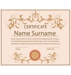 Certificate template floral ornament printing vector
