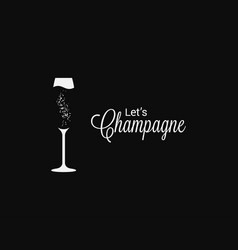 champagne glass logo on holiday black background vector image