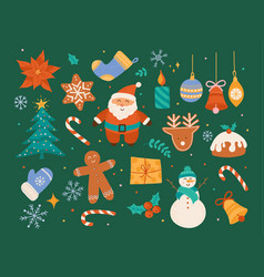 christmas decorative collection cute vector image