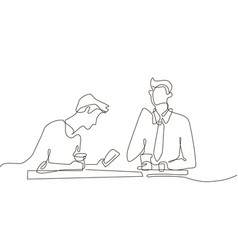 Coffee break - one line design style vector