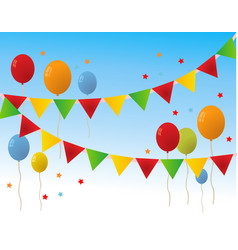 colored happy birthday balloons banner background vector image