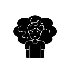 Concern black icon sign on isolated vector