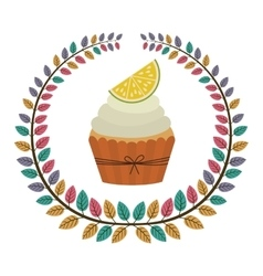 Crown of leaves with cupcake with cream and lemon vector