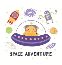 Cute alien in space vector