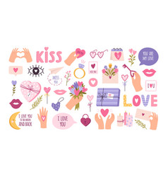 cute valentines day stickers for planner love vector image