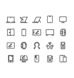 devices line icons desktop computers electronic vector image
