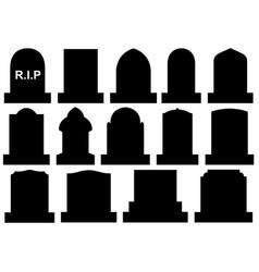 Different halloween gravestones vector