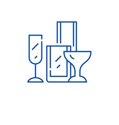 drinks glassware line icon concept drinks vector image