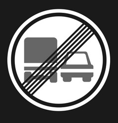 End of prohibition overtaking for trucks sign icon vector
