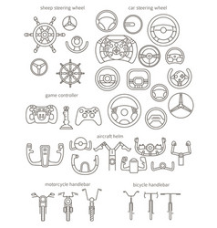 equipment for transport driving set helmet rudder vector image