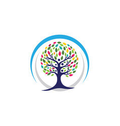 Family tree logo template icon design vector