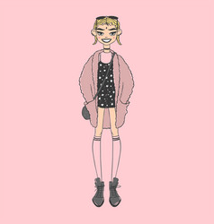 fashion look girl beautiful girl woman female vector image
