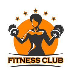fitness emblem with athletic girl vector image