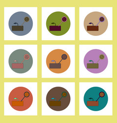 Flat icons set of drought and plant concept on vector