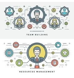 Flat line Team Building and Management vector image
