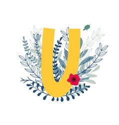 Floral alphabet letter u vector