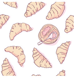 french croissants seamless pattern vector image