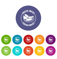 fresh meat icons set color vector image