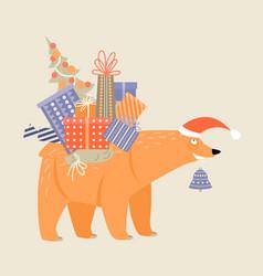 funny cartoon bear in a santa claus hat vector image