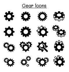 gear repair fixing icon set vector image