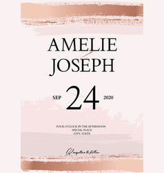 Gold glitter wedding card tender rose gold soft vector