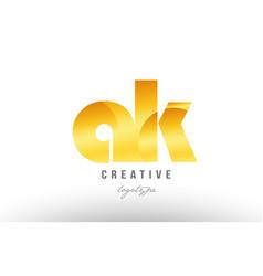 Gold golden metal gradient ak a k alphabet letter vector