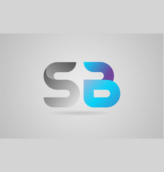 Grey blue alphabet letter sb s b logo icon design vector