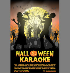 halloween zombie singing karaoke music at cemetery vector image