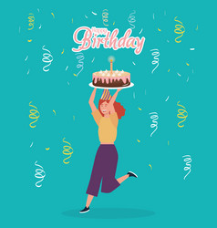 happy birthday woman with cake confetti vector image