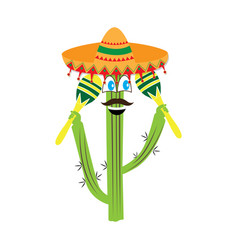 happy cactus with a mexican hat and maracas vector image