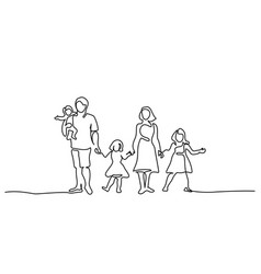 happy family father and mother with three children vector image