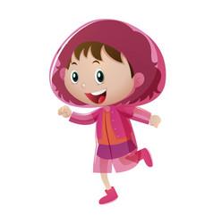 happy girl in pink raincoat vector image