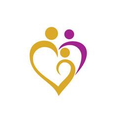 Heart love family logo vector