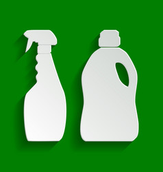 Household chemical bottles sign paper vector
