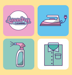 Icon set laundry cleaning delicate vector